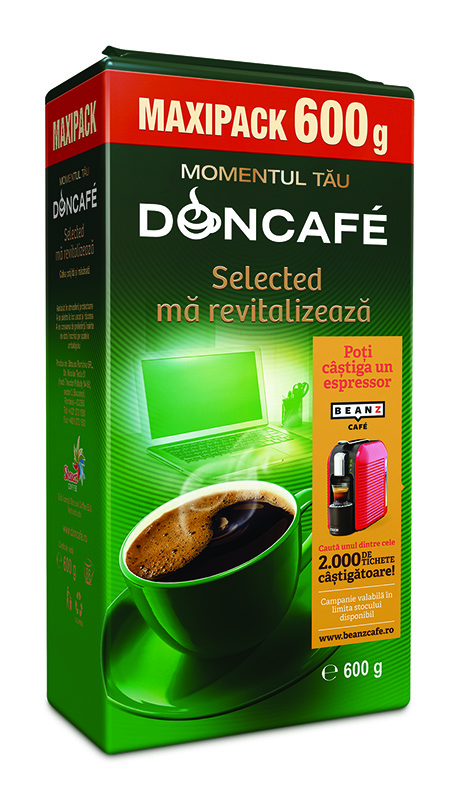 Doncafe vacuum Selected 600g promotie BeanZ 2018 LEFT